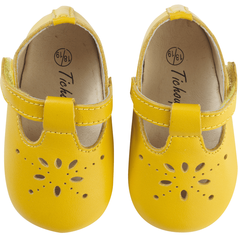 chaussures-bebe-cuir-souple-salome-jaune-moutarde-face